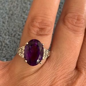 Oval Amethyst and CZ Sterling Silver Ring